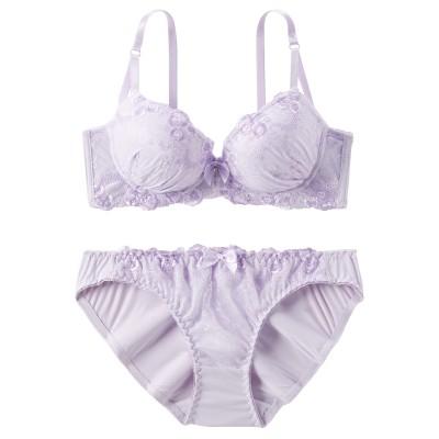 ピュアカラーフラワーレース ブラジャー・ショーツセット(E70/M) (ブラジャー&ショーツセット)Bras & Panties