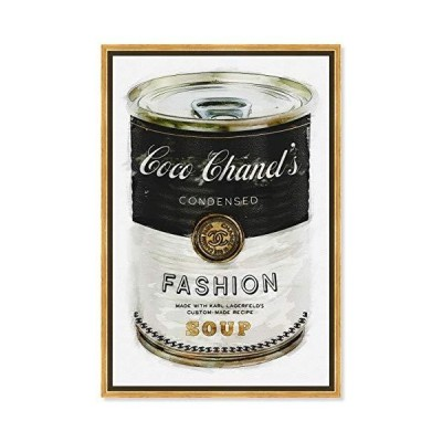 """The Oliver Gal Artist Co. Fashion and Glam Framed Wall Art Canvas Prints 'Fashion Soup' Soup Can, 24"""" x 36"""""""