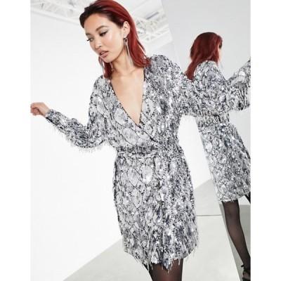 エイソス レディース ワンピース トップス ASOS EDITION sequin fringe wrap mini dress in silver