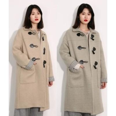 ダッフルコート レディース アウター ロングコート 大きいサイズ  襟付き 袖チェック ウール シンプル 学生  オーバーサイズ