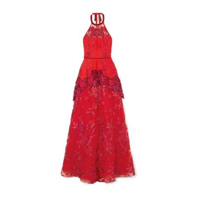 マルケッサ・ノッテ MARCHESA NOTTE ロングワンピース&ドレス レッド 2 ポリエステル 100% / ナイロン / レーヨン / レー