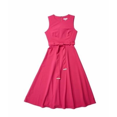 カルバンクライン ワンピース トップス レディース A-Line Dress with Self Tie Belt Hibiscus