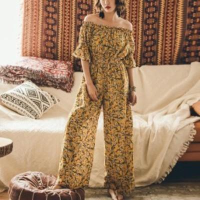 花柄オールインワン レディース オフショルダー 半袖 ロングパンツ フレア ルームウェア ゆったり 体型カバー 大人可愛い 売れ筋 シンプ