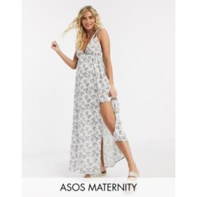エイソス レディース ワンピース トップス ASOS DESIGN maternity braid maxi beach dress in textured meadow floral print Meadow flor