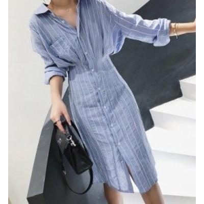 シャツワンピース 襟付き ひざ丈 長袖 大きいサイズ ゆったり 大人可愛い 春夏 ストライプ柄 トレンド ブルー 10代 20代 30代 お出かけ