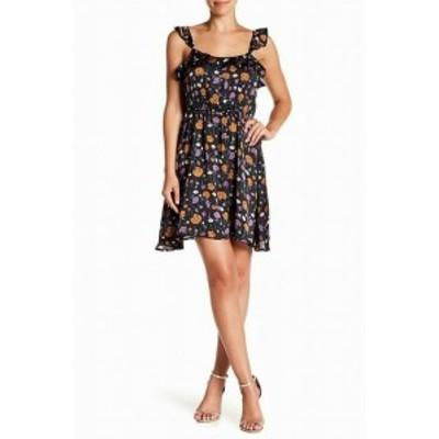 J.O.A.  ファッション ドレス J.O.A. NEW Black Womens Size Small S Floral Ruffle Trim Shift Dress