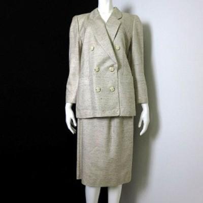 【中古】レリアン Leilian スカートスーツ 上下セットアップ シルク 絹 100% ダブル ジャケット M 9 ベージュ