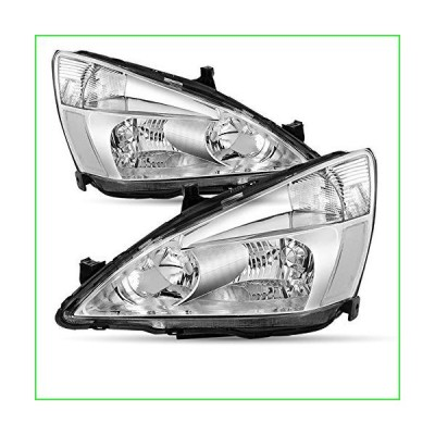Driver and Passenger Side Headlight Assembly Compatible with 2003-2007 Honda Accord Replacement Headlights with Chrome Housing Front Lights