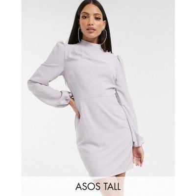 エイソス ASOS Tall レディース ワンピース ミニ丈 ワンピース・ドレス ASOS DESIGN Tall high neck mini dress with long sleeves in grey シルバー