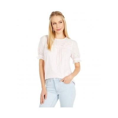 Lucky Brand ラッキーブランド レディース 女性用 ファッション ブラウス Short Sleeve Crew Neck Woven Mix Top - Primrose Pink