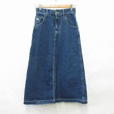 【中古】リリーブラウン Lily Brown PoPeye ポパイ スカート 台形スカート ロング デニム 刺繍 スリット ユーズド加工 綿 ブルー 0