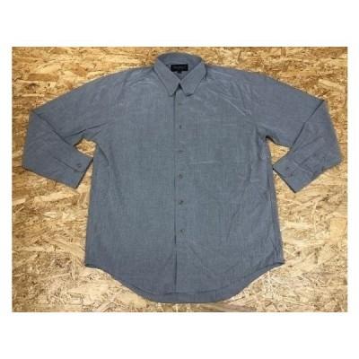 THREE LANCER スリーランサー Mサイズ メンズ シャツ 無地 フレンチフロント 胸ポケット付き 長袖 グレー 灰色