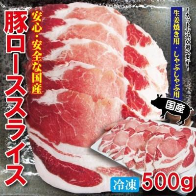 国産豚ローススライス 500g 冷凍 生姜焼き用・しゃぶしゃぶ用 カット方法が選べます 豚肉 焼肉 豚しゃぶ cut