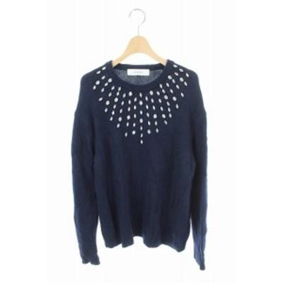 【中古】ルシェルブルー LE CIEL BLEU ニット セーター ビジュー装飾 長袖 36 紺 /AO ■OS レディース