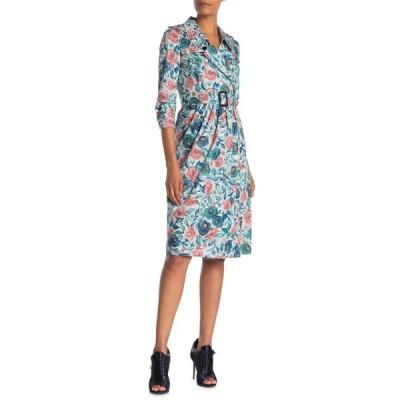 バーバリー レディース ワンピース トップス Agatha Floral Notch Lapel Dress TEAL BLUE