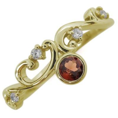 10金 ガーネットリング レディース 指輪 アラベスク