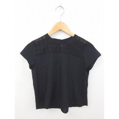 【中古】フレディ エミュ fredy emue カットソー Tシャツ 丸首 肩総柄 半袖 36 黒 ブラック /TT42 レディース 【ベクトル 古着】
