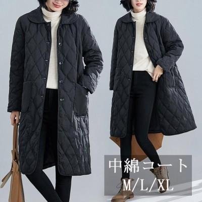 コート 中綿入り ロングコート 中綿コート ロングコート 冬 防寒 レディース 長袖 ブラック シンプル 40代