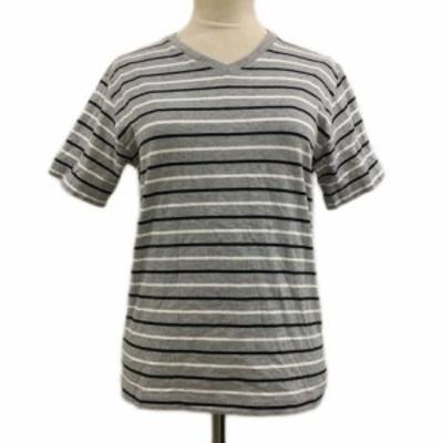 【中古】ビームスハート Tシャツ カットソー プルオーバー Vネック ボーダー 半袖 S グレー 白 ホワイト レディース