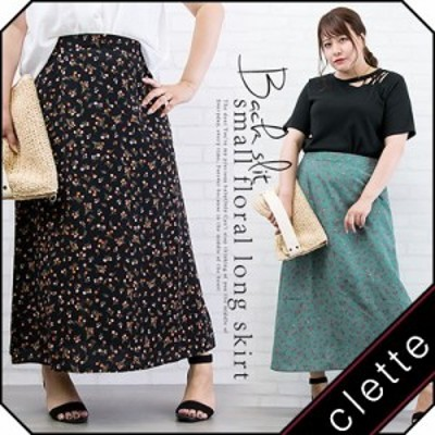 大きいサイズ/レディース/3L/4L/後ろスリット小花柄ロングスカート