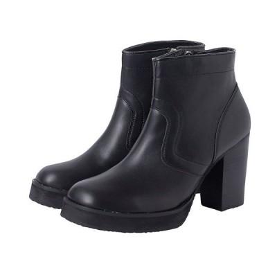 ブーツ スムースレザーヒールブーツ -ショート-