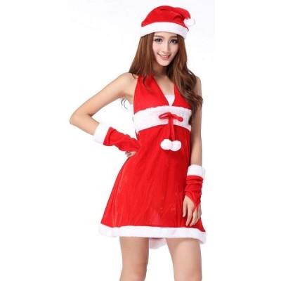 パーティドレス サンタ ミニスカ ワンピース レディース コスチューム フリーサイズ 2点セット クリスマス 衣装 サンタクロース