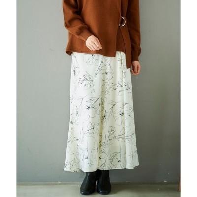 le.coeur blanc / ルクールブラン ラインフラワープリントフレアスカート