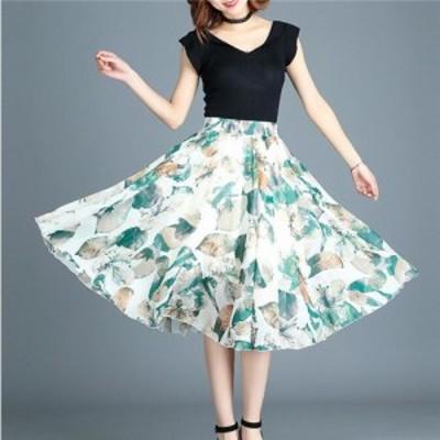 シフォン大裾スカート フレアスカート シフォンスカート Aラインスカート スカート ミディアム 花柄 プリント 薄手 カジュアル