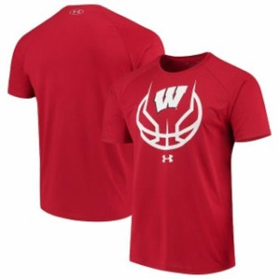 Under Armour アンダー アーマー スポーツ用品  Under Armour Wisconsin Badgers Red Basketball Icon Tech Raglan Performance T-Shirt