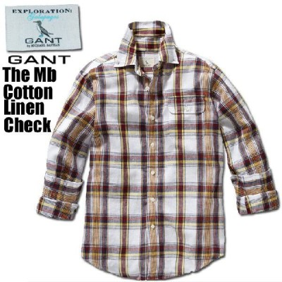 GANT (ガント)The Mb Cotton Linen Check(コットン リネン シャツ)