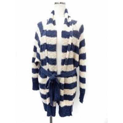【中古】アングリッド UNGRID カーディガン ニット 羽織り ボーダー ベルト F ブルー ホワイト /ST9 レディース