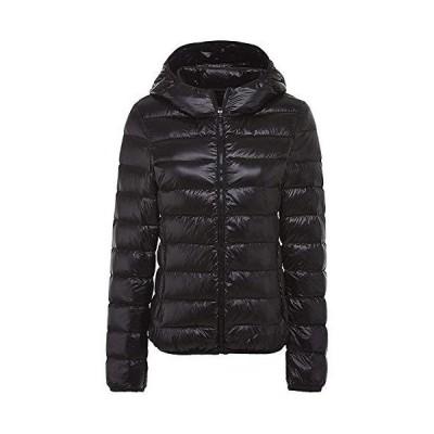 ダウンジャケット レディース 軽量 ショート 暖かい ウルトラライト コンパクト収納 ダウン コート おしゃれ 防風 防寒 暖かい 収納袋付き 帽 黒