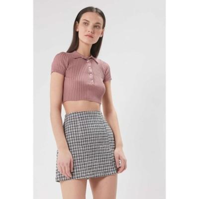 アーバンアウトフィッターズ Urban Outfitters レディース ミニスカート スカート uo darren seersucker notched mini skirt Black/White