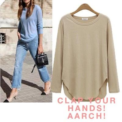 大きいサイズ あり おおきいサイズ レディース ファッション プレーン Tシャツ 長袖 カットソー トップス L〜 LL 3L 4L 5L 春夏