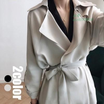 トレンチコート ロング丈 風 通勤 カジュアル 長袖 着痩せ コート レディース ベルト ゆったり オシャレ 40代 春秋 モッズコート きれいめ 2色