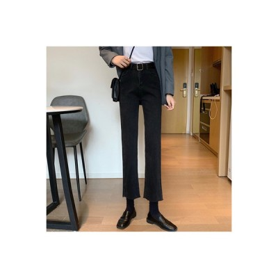 【送料無料】ブラックジーンズ 女 秋 韓国風 何でも似合う ハイウエスト 着やせ シ | 346770_A63825-3224552