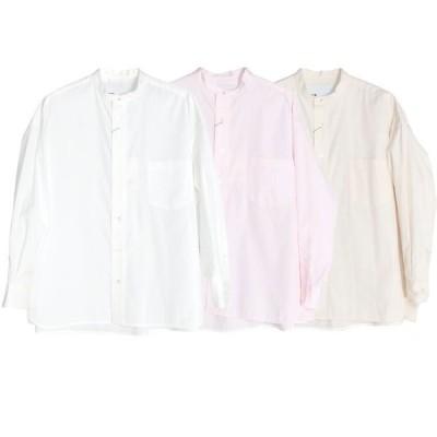TICCA ティッカ ノーカラースクエアビッグシャツ レディース 21春夏 WHITE CREAM PINK TBAS-103