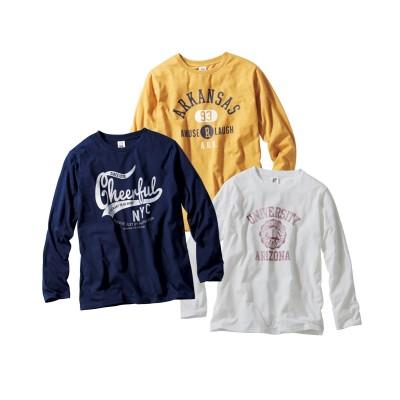 長袖プリントTシャツ3枚組(アメカジ) Tシャツ・カットソー, T-shirts,