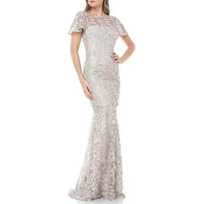 カルメンマークヴァルヴォ レディース ワンピース トップス 3D Novelty Flutter Short Sleeve Embroidered Gown