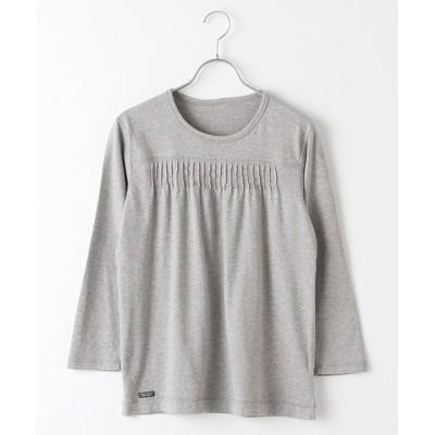Mademoiselle NONNON/マドモアゼルノンノン ピンタックTシャツ[8分袖] TOPグレー M