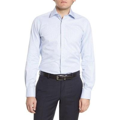 デイビッドドナヒュー メンズ シャツ トップス Grid Print Trim Fit Dress Shirt WHITE/SEAFOAM