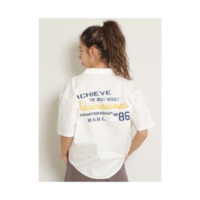 DOUBLE NAME BACK刺繍シャツ オフシロ