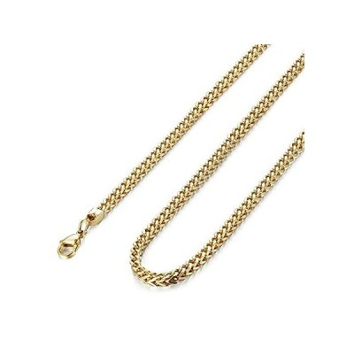 """FIBO STEEL 3mm Curb Chain Necklace for Men Stainless Steel Biker, 20"""""""