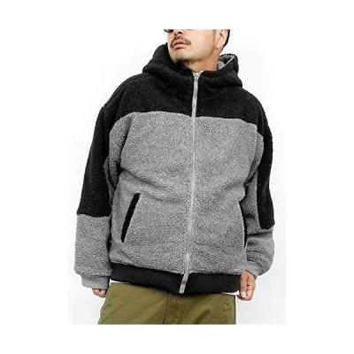 [one colors] ボア ジャケット メンズ 大きいサイズ もこもこ 防寒 あったか フード ジャケット (グレー 3L)