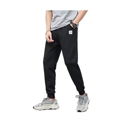 メンズ トレーニングパンツ ジム ジョガーパンツ フィットネス スリム スウェットパンツ スウェットパンツ メンズ (ブラック 2XL)