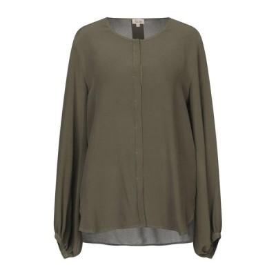 HER SHIRT シルクシャツ&ブラウス  レディースファッション  トップス  シャツ、ブラウス  長袖 ミリタリーグリーン