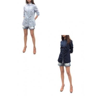 vorrei(ヴォッレイ)デザインストレッチシャツ(サイズ44/46)(ライトブルー/ネイビー)