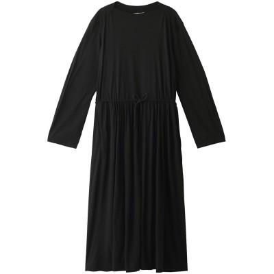 unfil アンフィル スーパーファインメリノジャージーギャザードドレス レディース ブラック 0