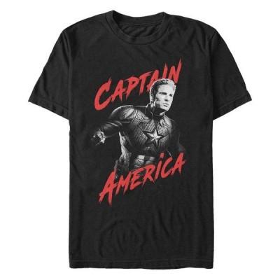 マーベル Tシャツ トップス メンズ Men's Captain America High Contrast Captain America Short Sleeve T-Shirt Black