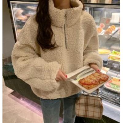 韓国 ファッション レディース ボア プルオーバー トップス もこもこ ハイネック 長袖 ゆったり カジュアル シンプル 秋冬